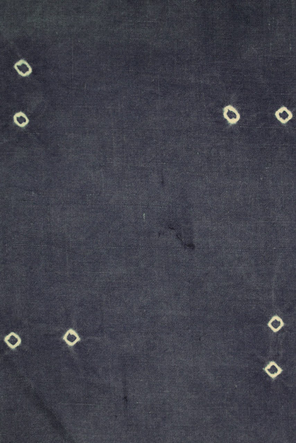 UNNAMED.Half grains of rice tied and dyed in indigo on silk. N.B. Susan sat sewing this length under a tree near Quir Bajou, her small house in France, one Summer. 1970s.