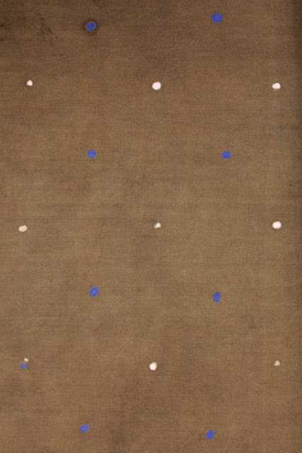 SPOT. Twice wax resisted spot, twice dyed in indigo and Caledon brown on fine cotton . (Alan Powers). 1980s.